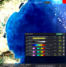 Screenshot of SEAScope with a dialog showing the color palettes